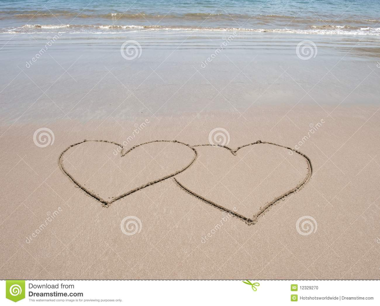 Love Heart Symbols In Sand On Tropical Beach Stock Photo Image Of
