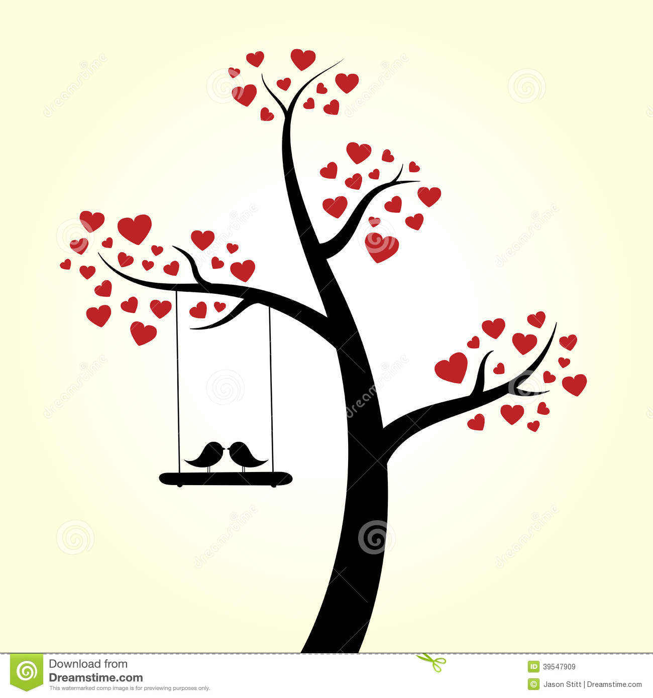 Love Heart Tree Stock Vector - Image: 39547909