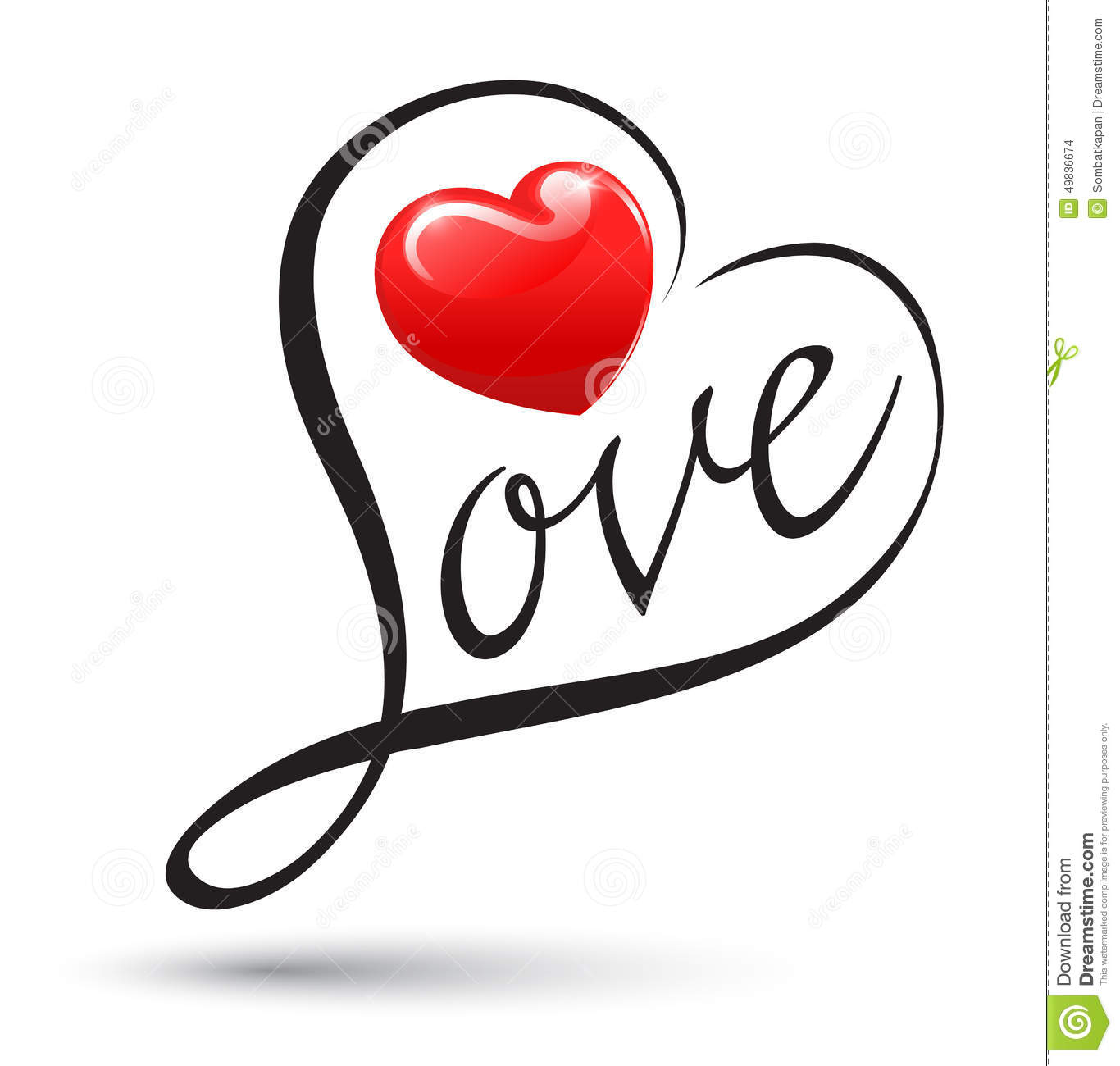 Love With Heart Typography Love Calligraphy Stock Vector