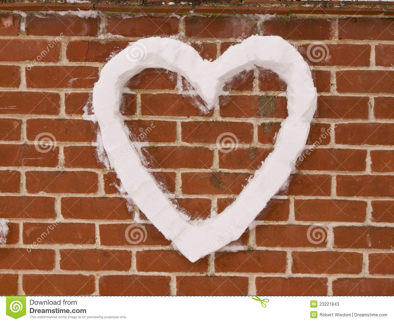 Love Heart On Wall Made From Snow Stock Photos Image