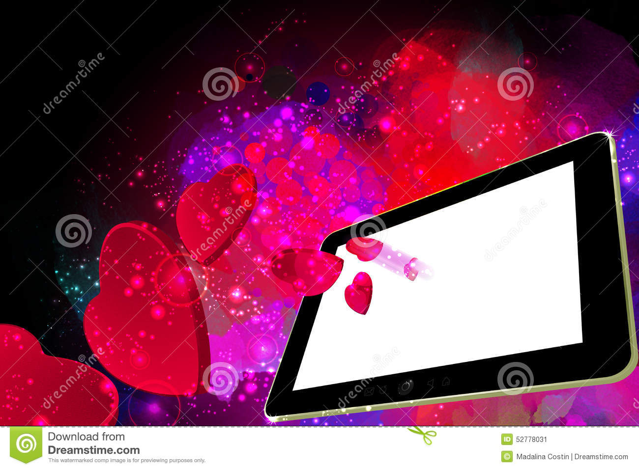 Love Wallpaper For Tablet: Love Hearts Going Out From A Tablet Pc Stock Illustration