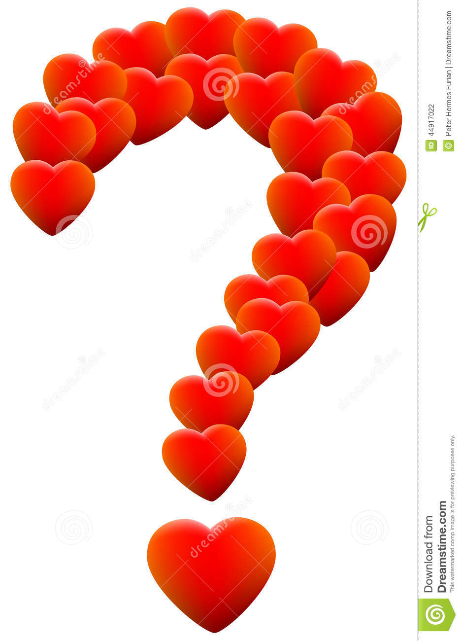 Red glowing hearts that form a question mark, as a symbol of ...