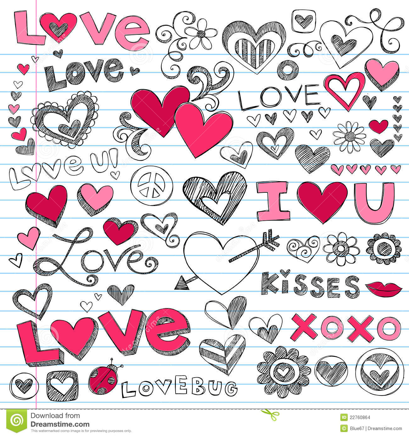 Love Hearts Valentine s Day Doodles