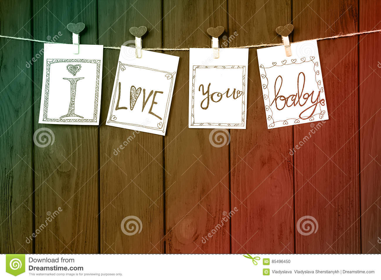 Love Hot Message on the four Valentine`s Cards says `I love you, baby!` on rustic Driftwood texture background.