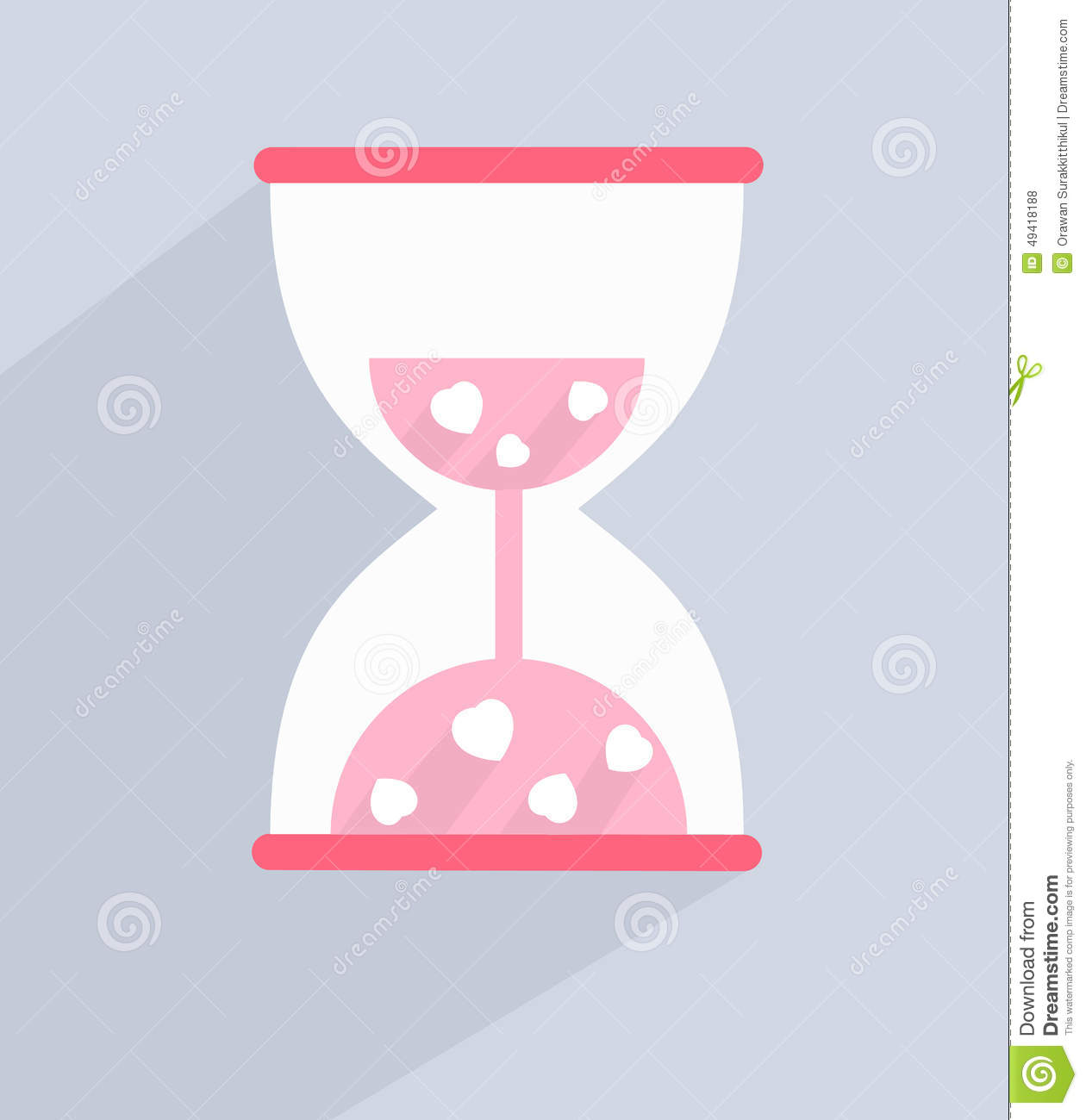love hourglass with hearts inside stock vector image