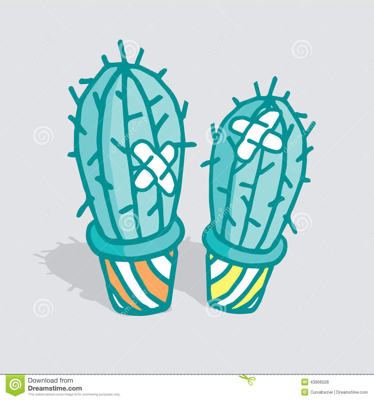 Love Hurts Cactus With Adhesive Bandage Stock Vector Illustration