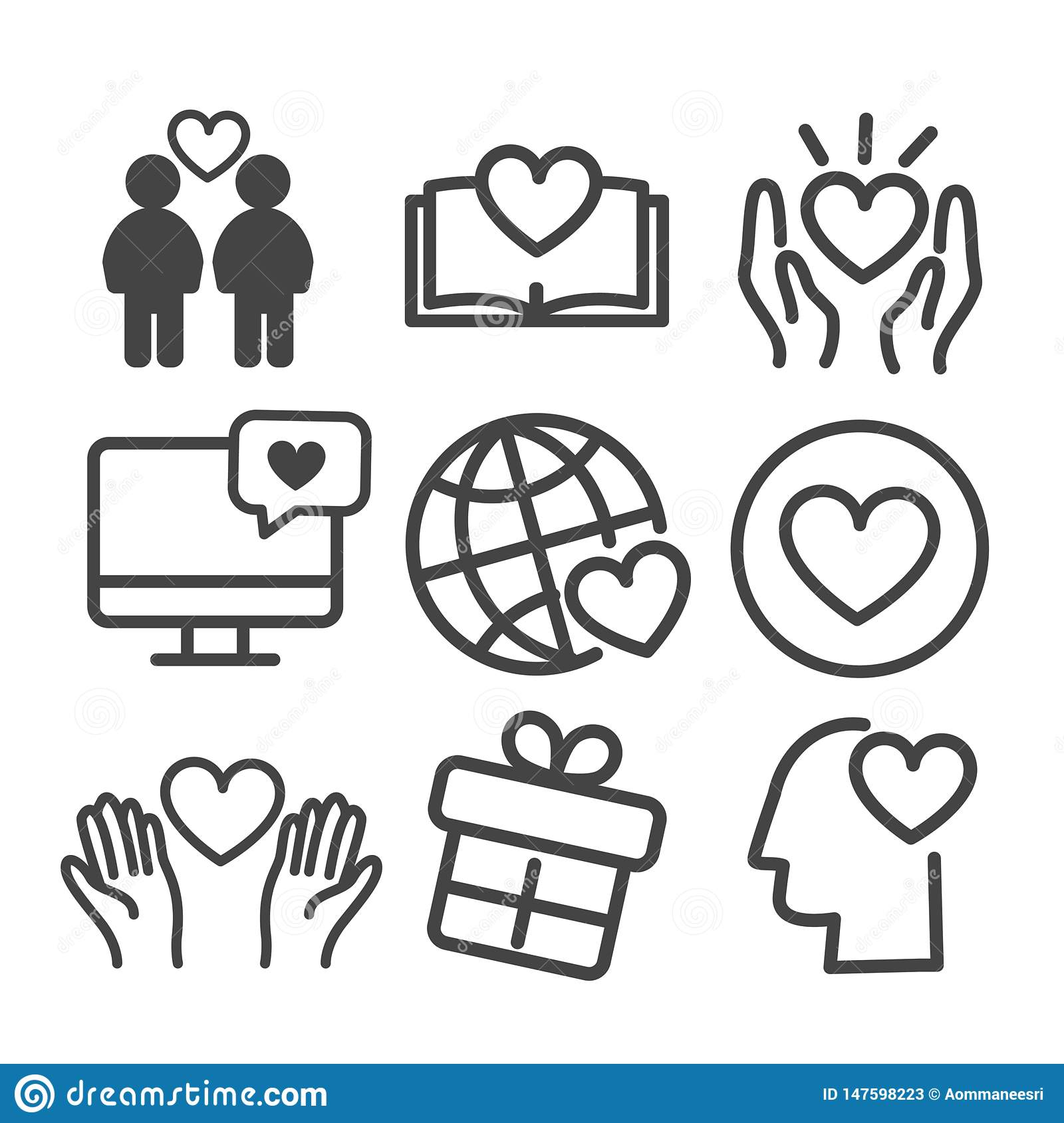 Love icon set isolated. Modern outline on white background