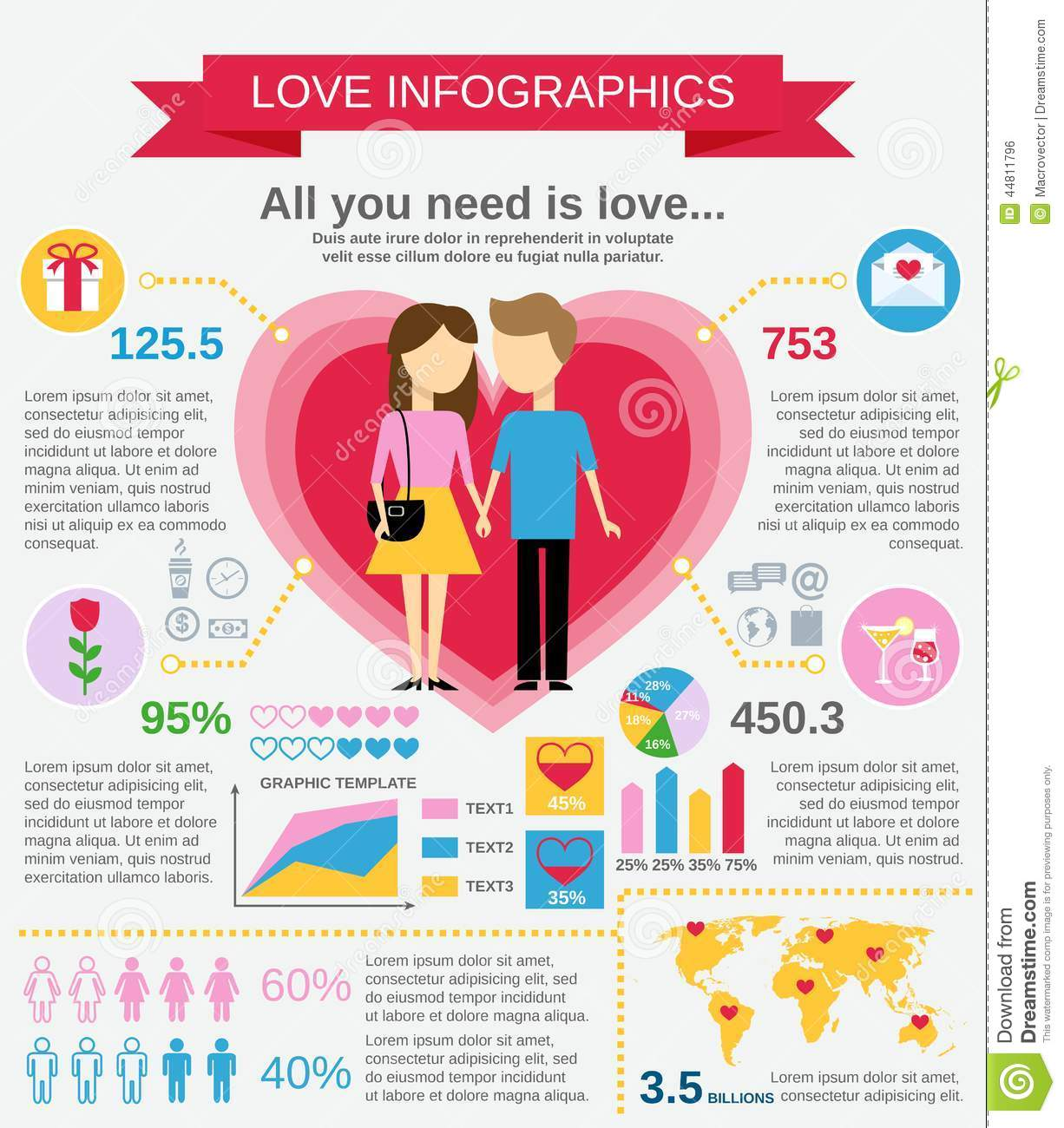Love Infographic Set Stock Vector - Image: 44811796