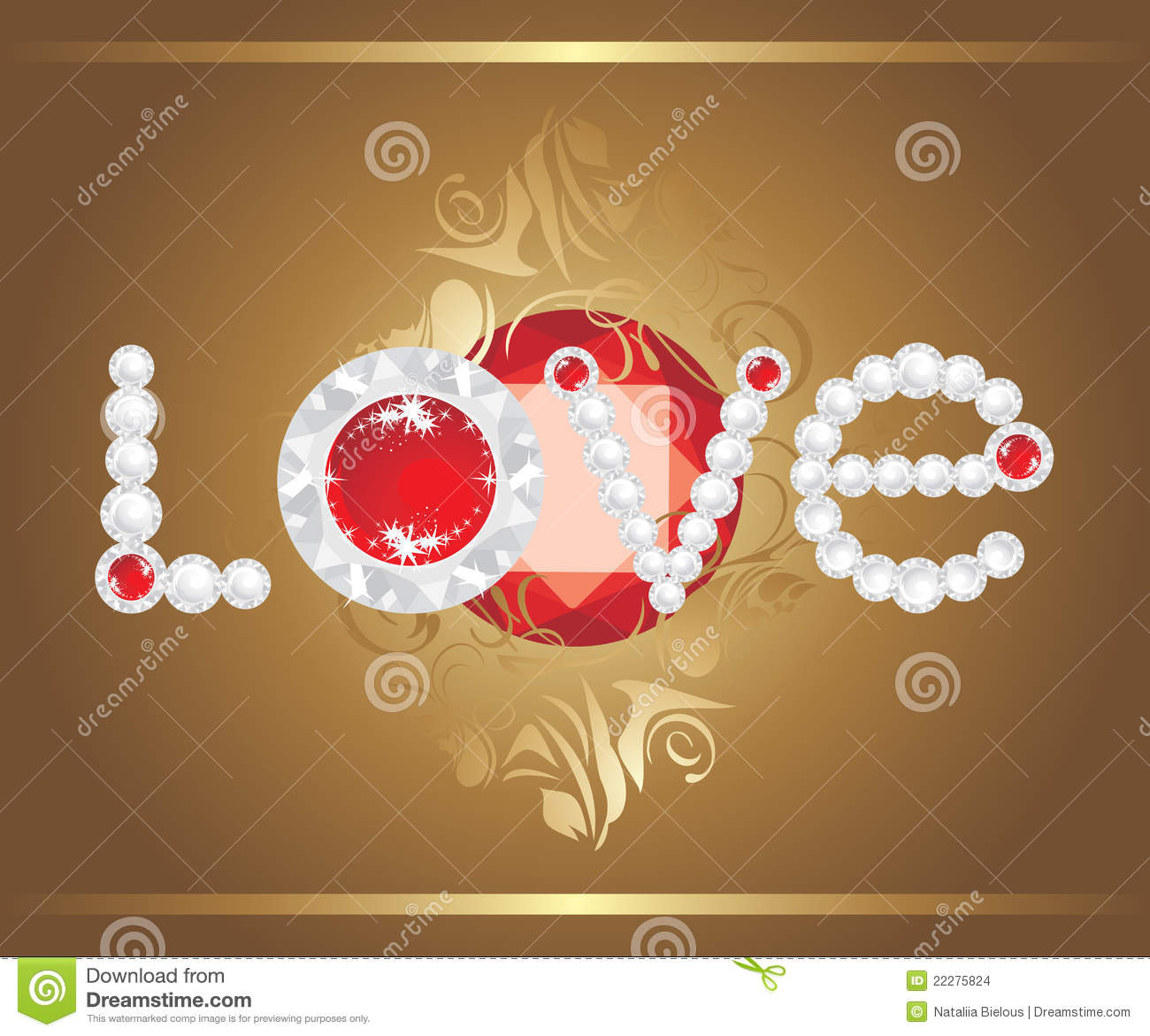 love inscription with strasses and shining ruby stock vector