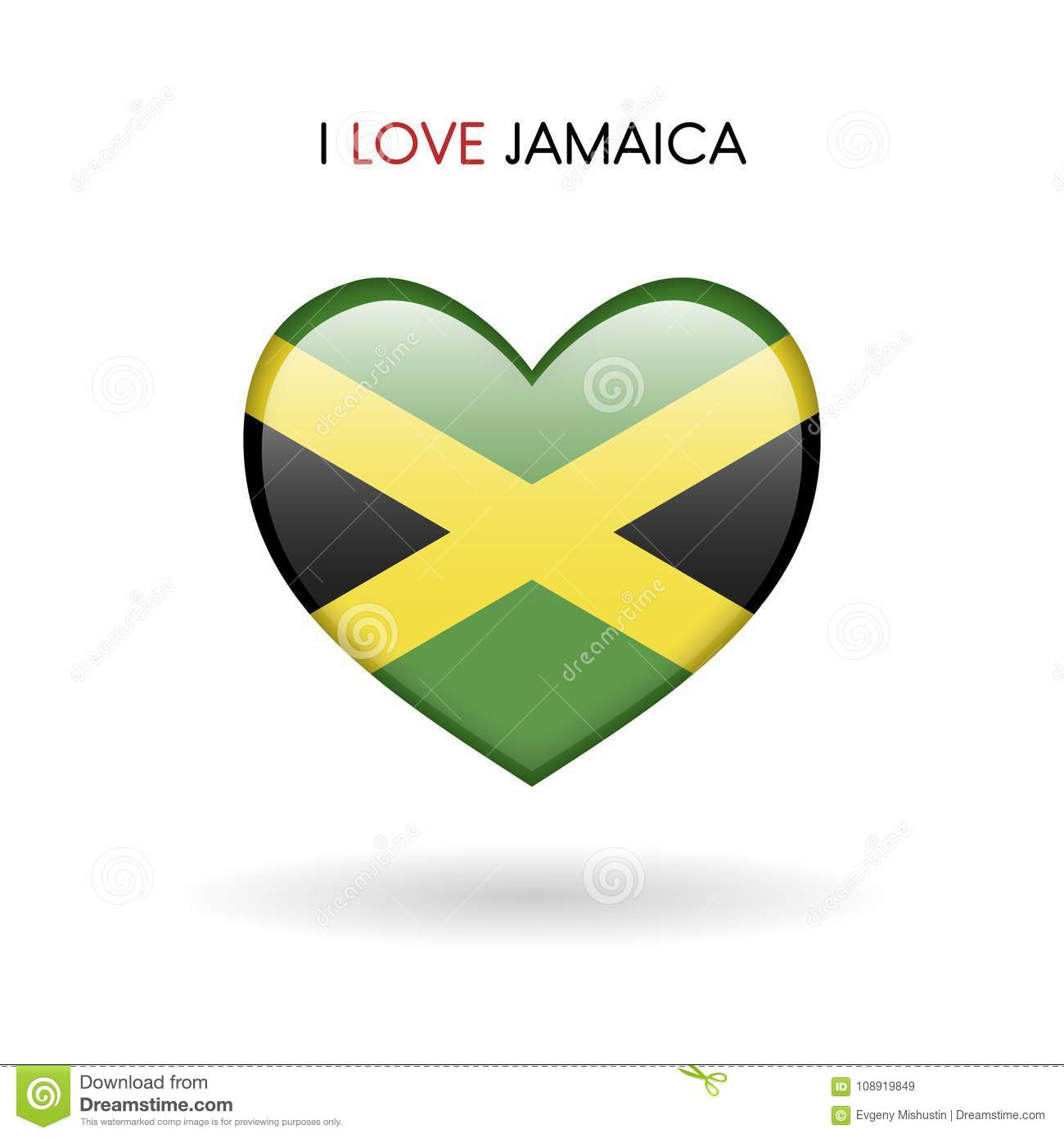 Love jamaica symbol flag heart glossy icon on a white background