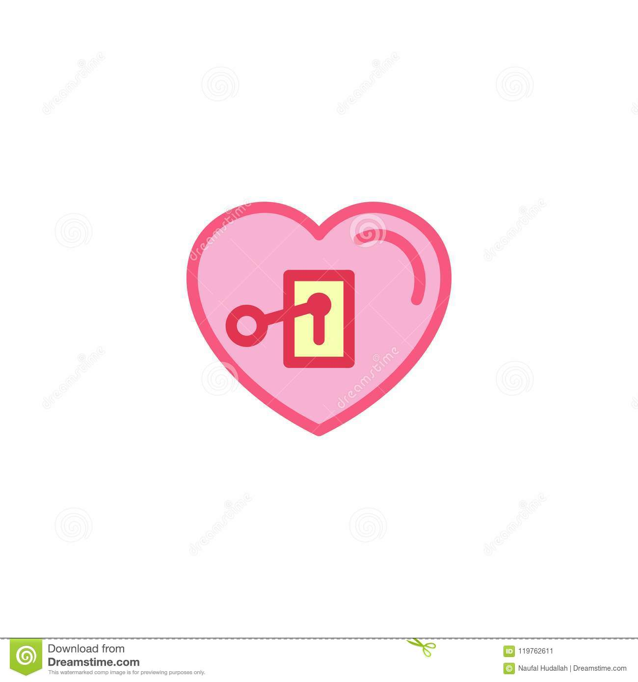 Love With Key Plugged In Icon Simple Heart Illustration Line Style