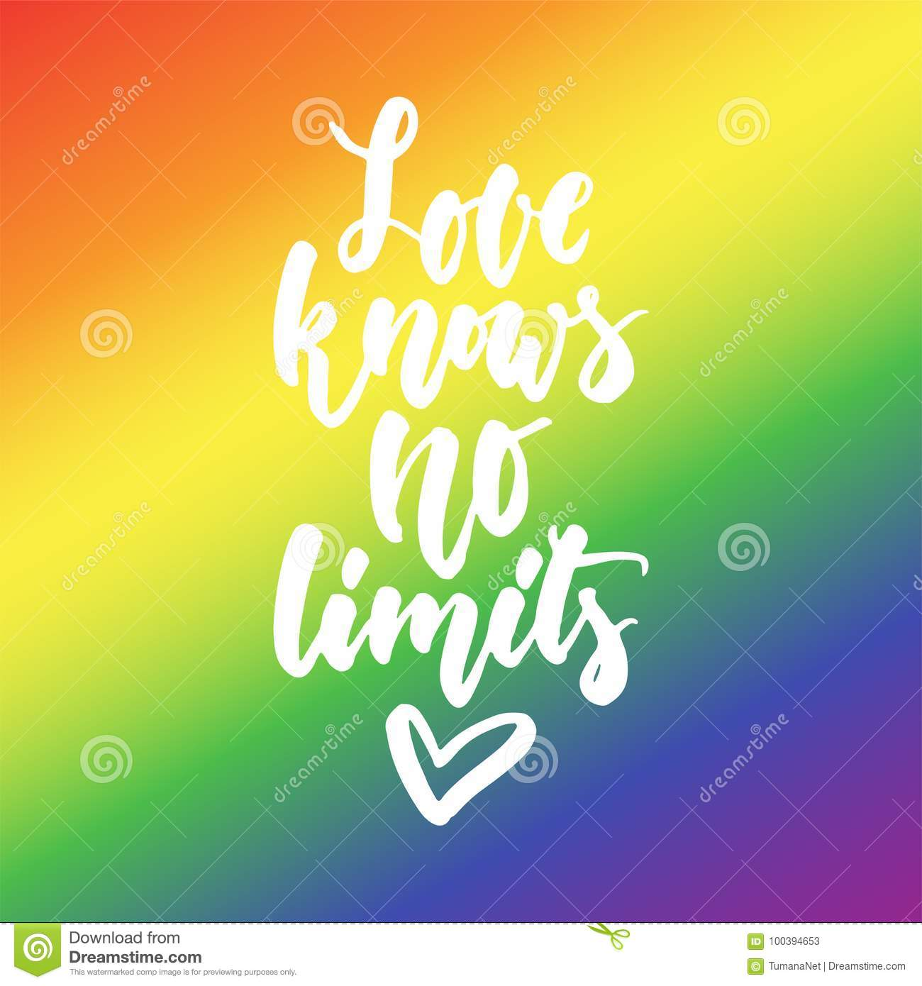 Lgbt Quotes Love Knows No Limits  Lgbt Slogan Hand Drawn Lettering Quote On
