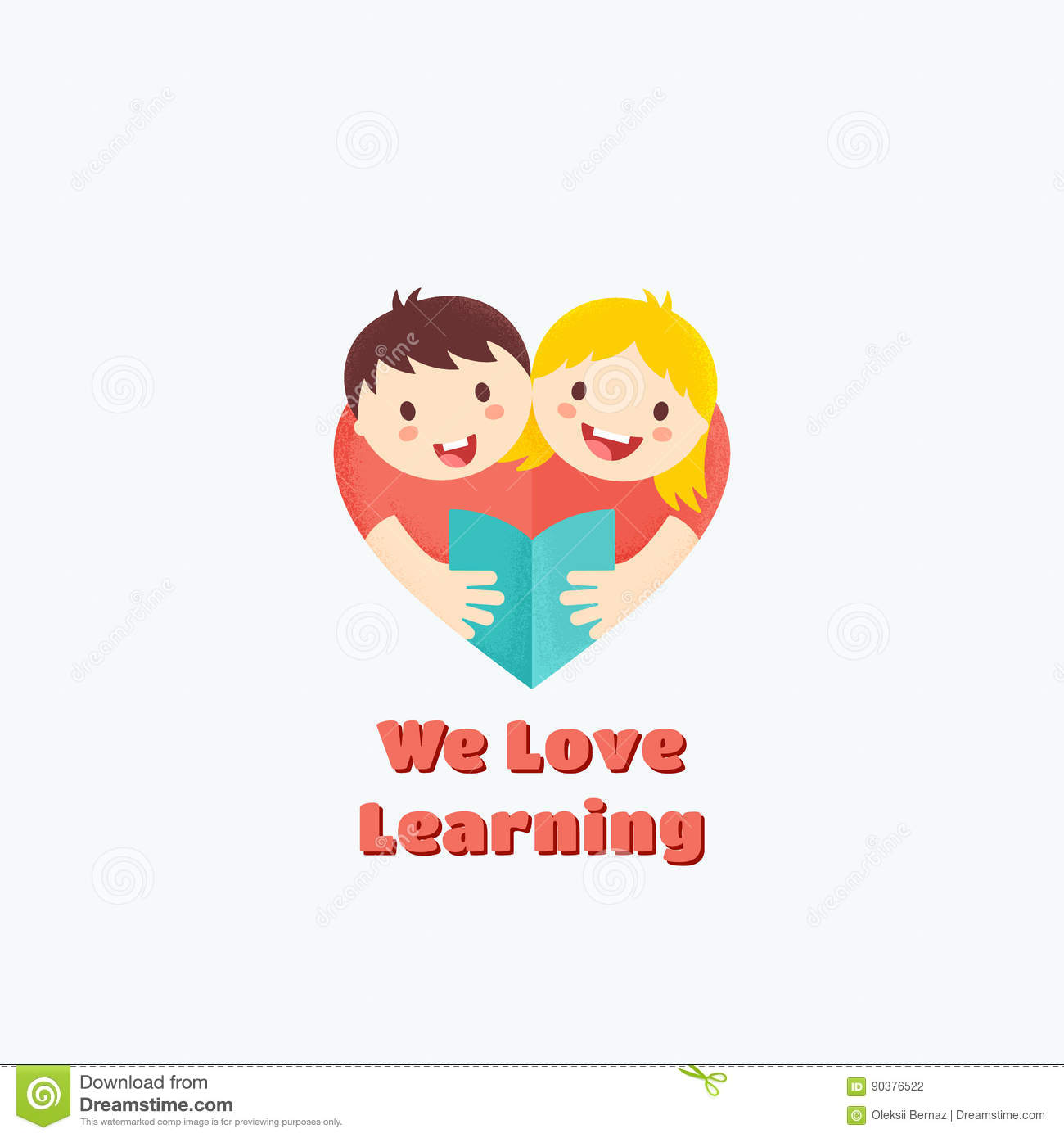 we love learning abstract vector sign emblem or logo template boy