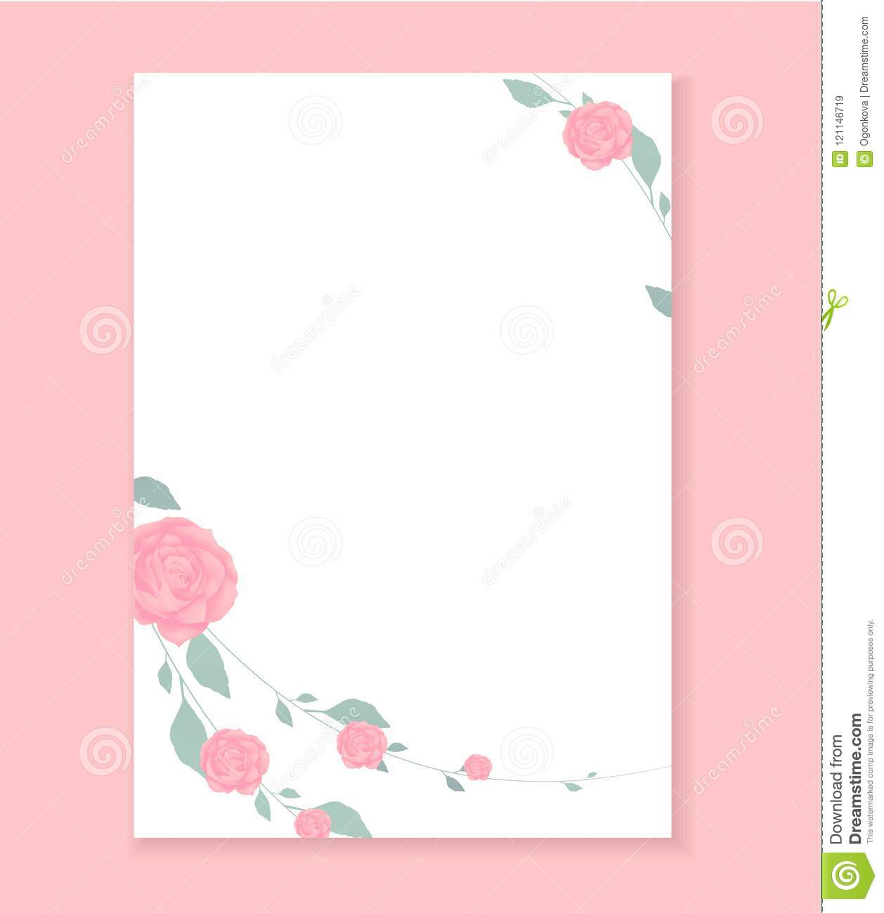 love letter blank template with rose flower pattern background