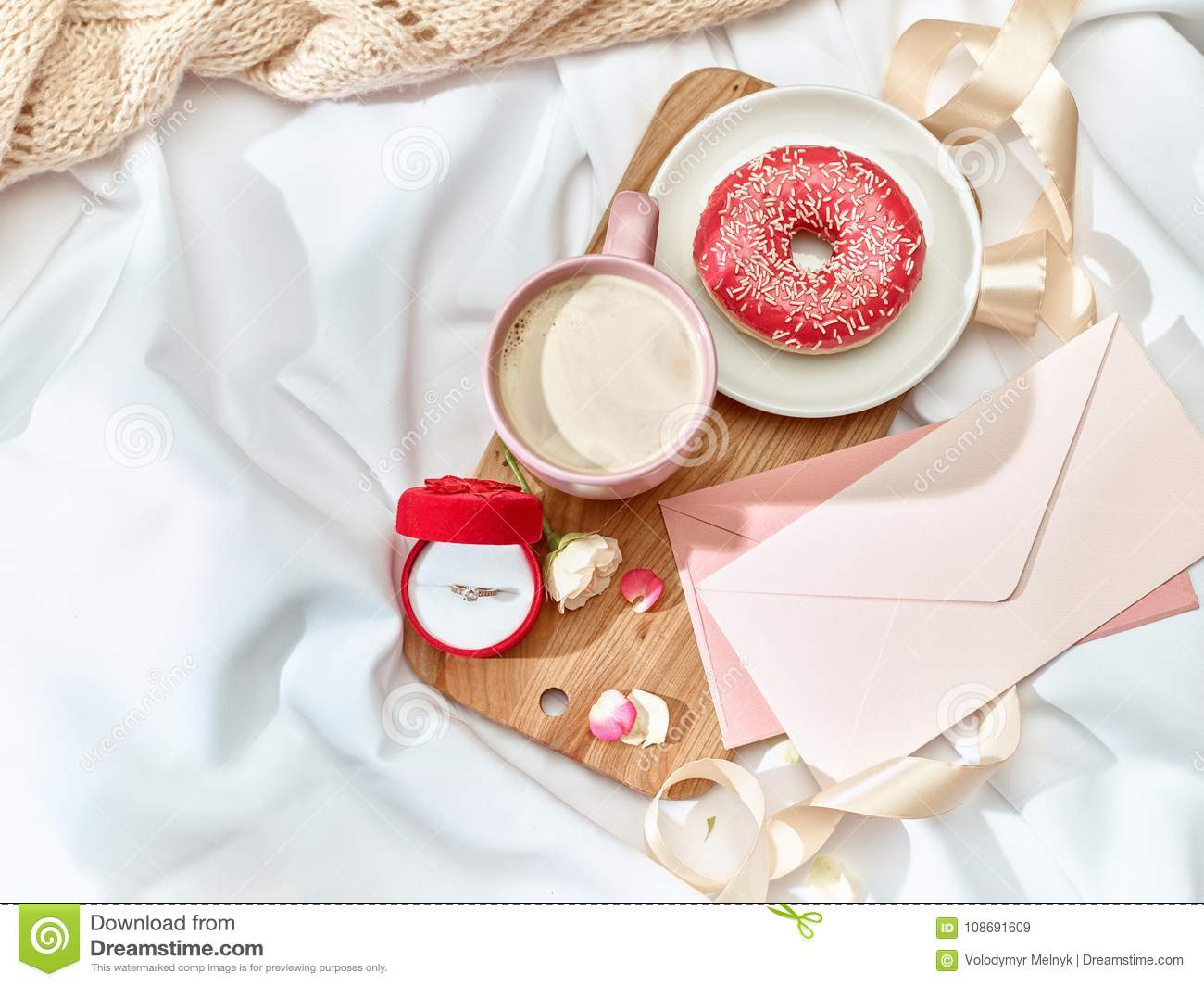 The Love Letter Concept On Table With Envelope Stock Image Image