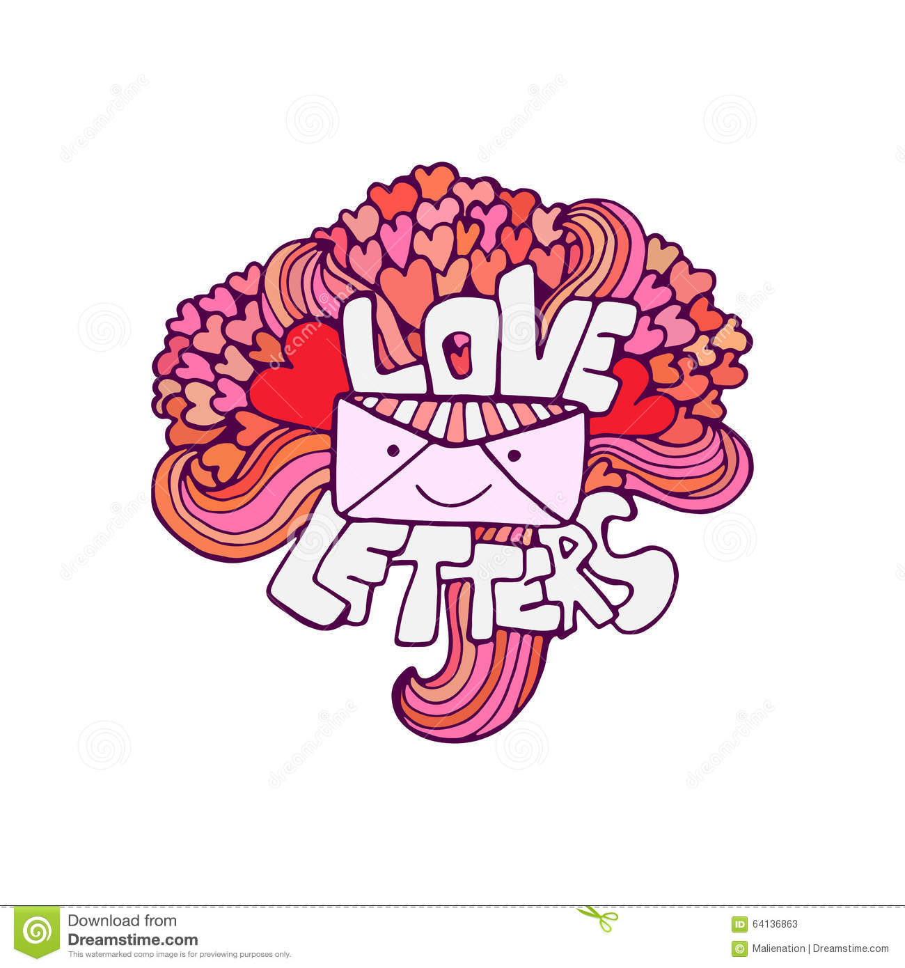 Love Letter. Cute Vector Valentines Day Card. Handwritten Phrase ...
