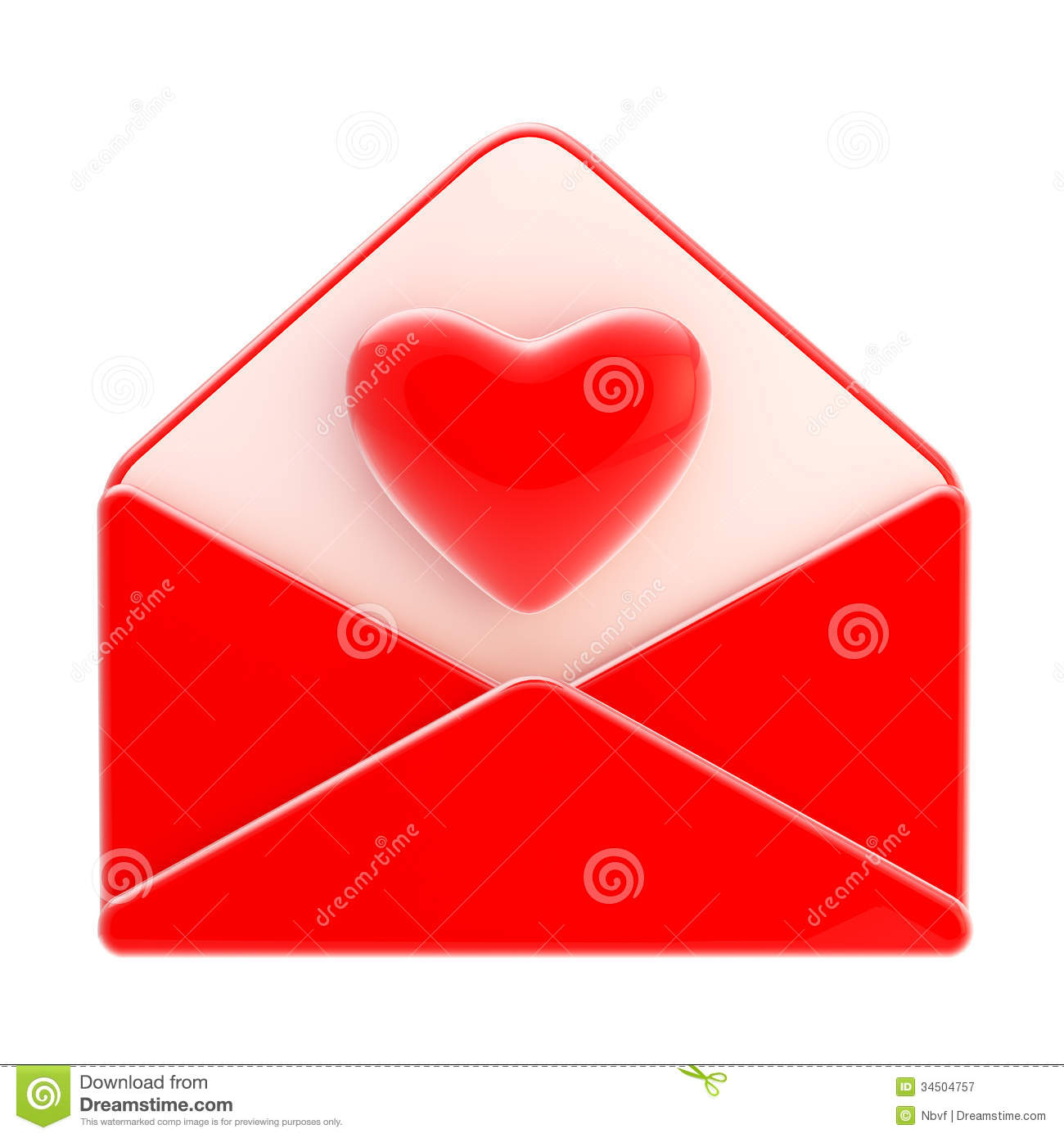 Love Letter Emblem As Red Envelope With Heart Stock ...