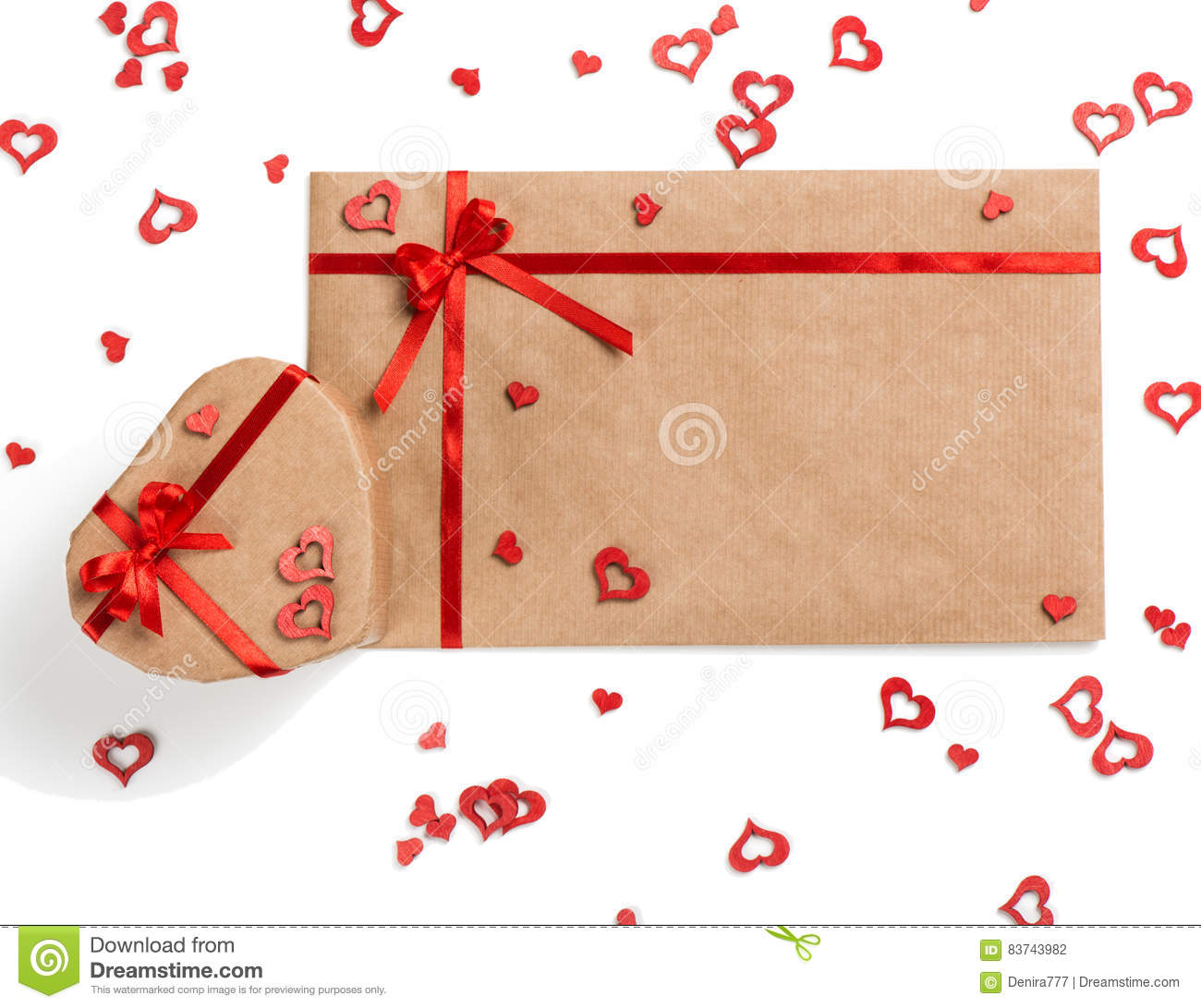 Love Letter Gift And Hearts For Valentines Day Stock Photo Image