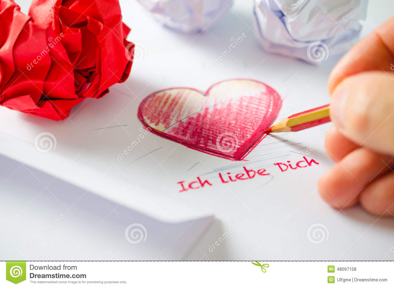 Love Letter Ich Liebe Dich Stock Photo Image Of Artist