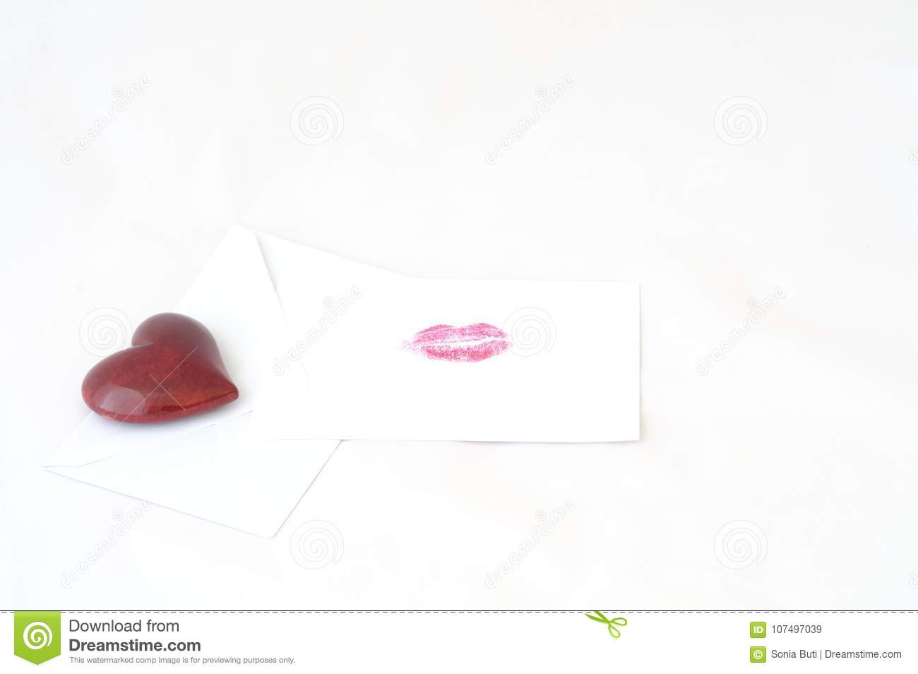 Love letter with the impression of a kiss and a red heart stock download love letter with the impression of a kiss and a red heart stock image m4hsunfo