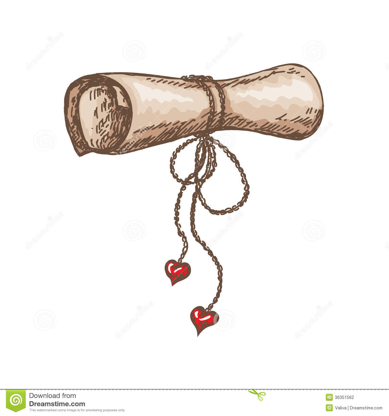 Roll of paper with red hearts on white background.