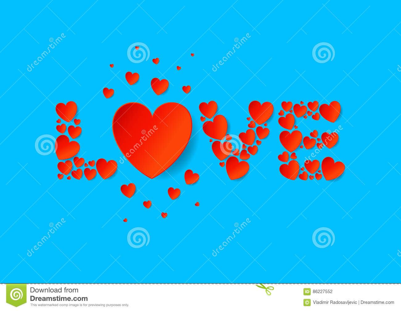 love letters flat lay with red vector paper hearts on blue background