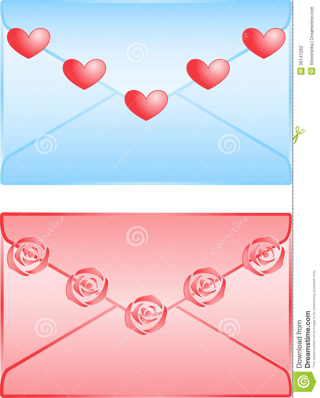 cute love letters isolated on white background