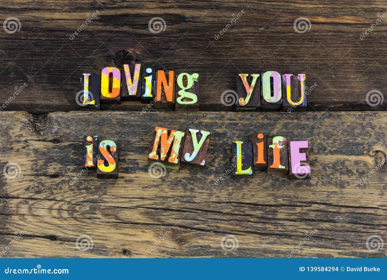 Love life forever happy romance heart letterpress