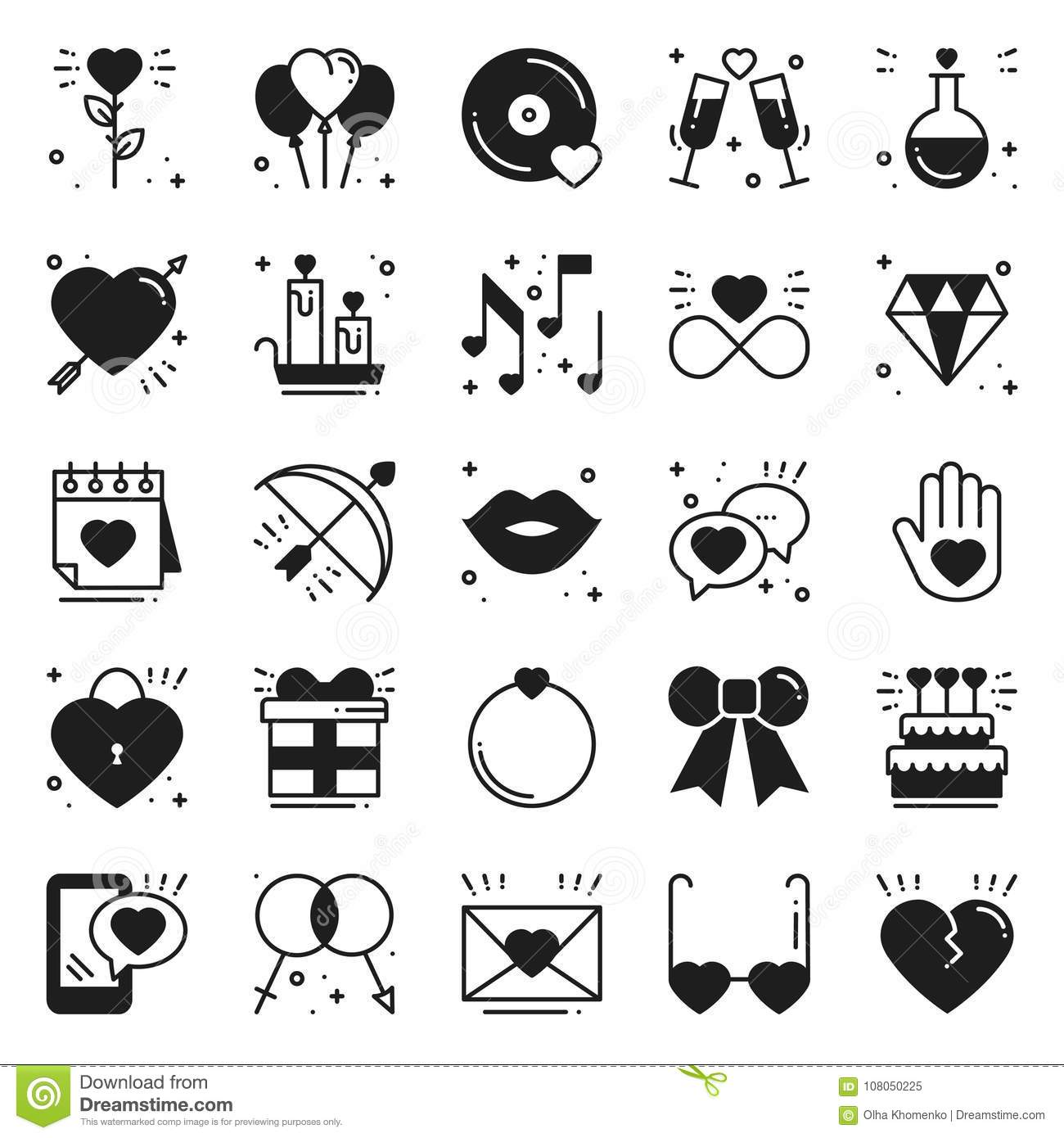 Love Line Icons Set Happy Valentine Day Silhouette Signs And