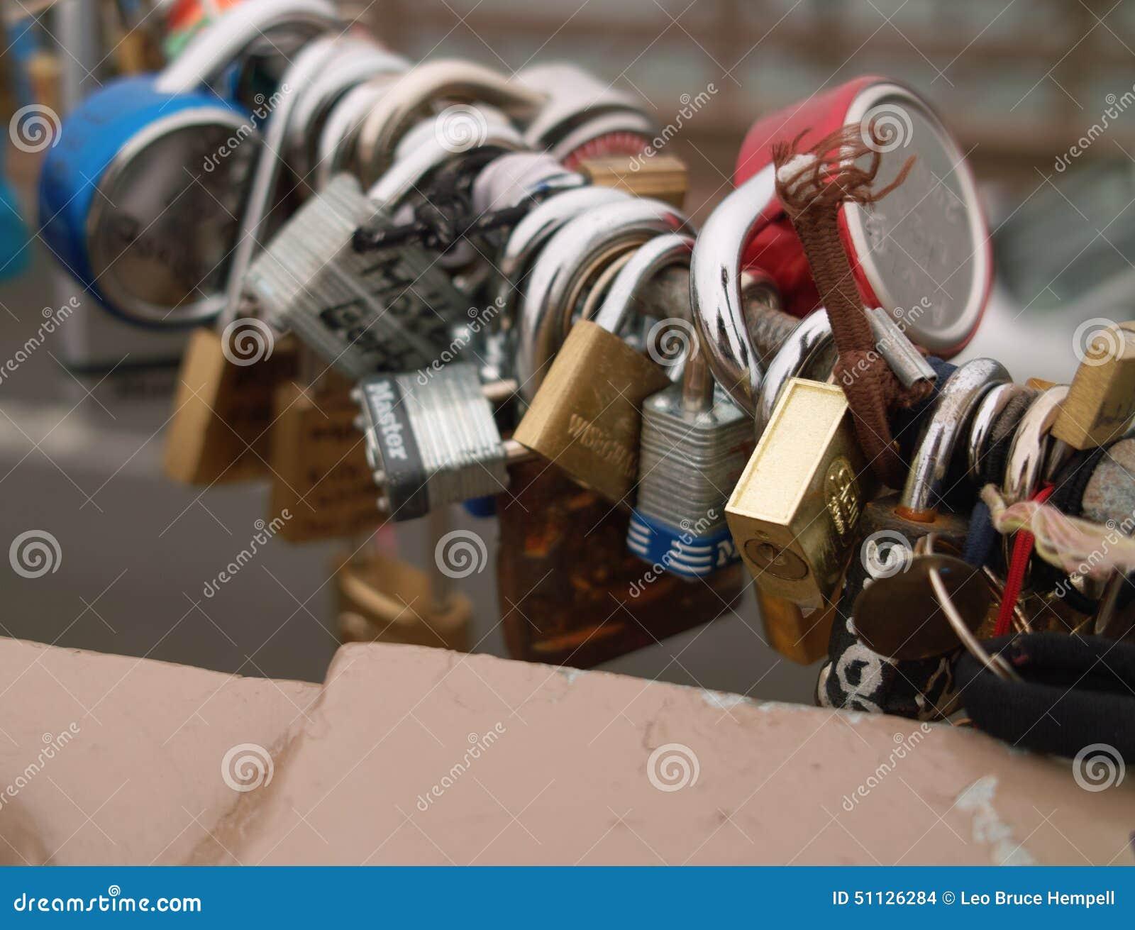 Love Locks on Brooklyn Bridge, New York, USA