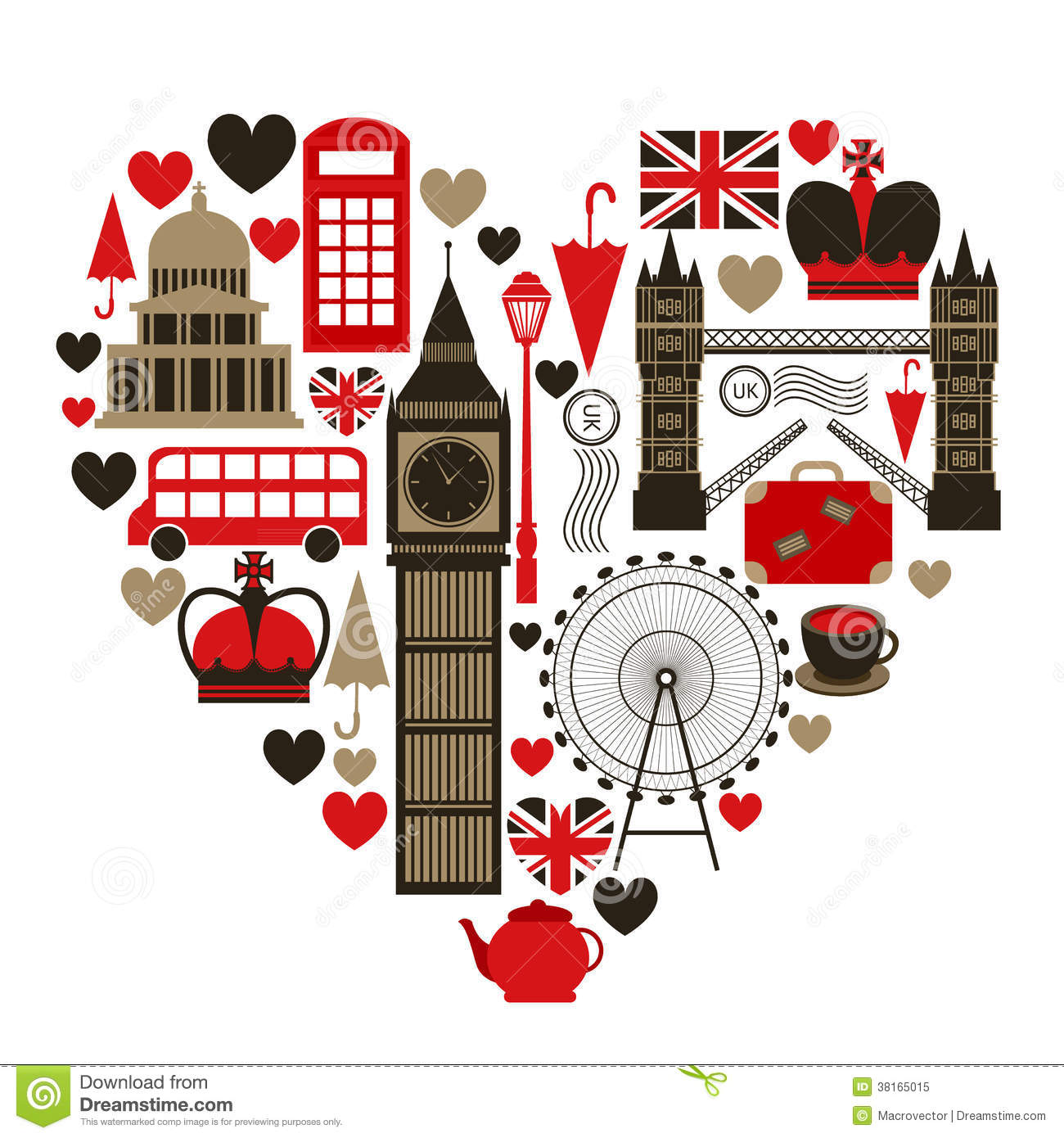 Love London heart symbol with icons set isolated vector illustration.