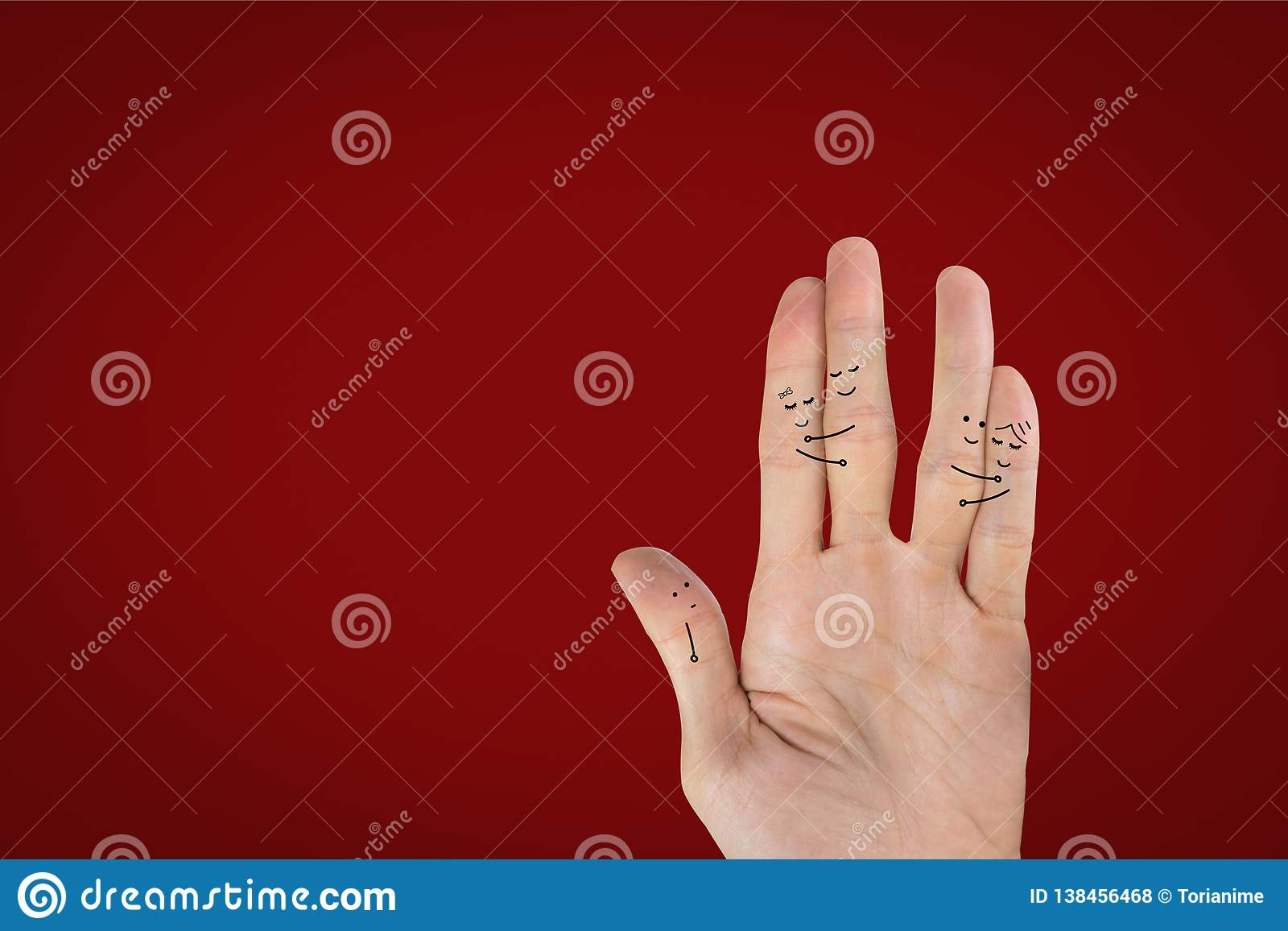 Love and lonely concept. Hand draw cartoon two love couples and alone on palm hand on red background
