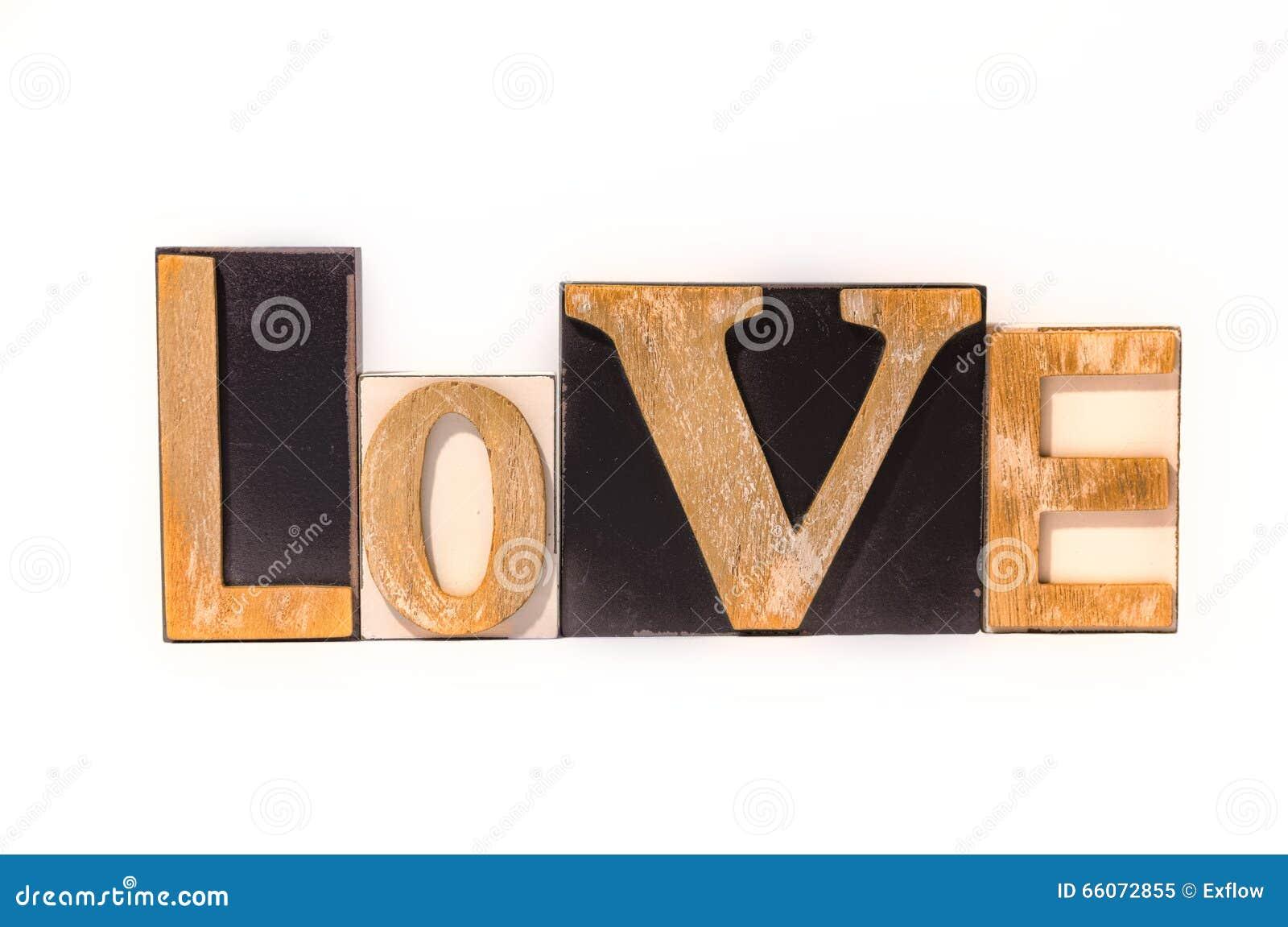 love made of wooden letter blocks