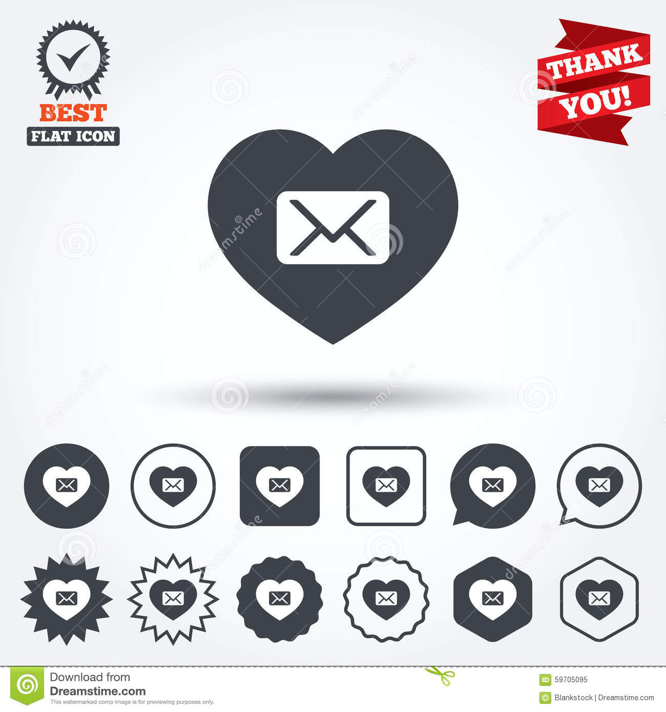 Love Mail icon. Envelope symbol. Message sign