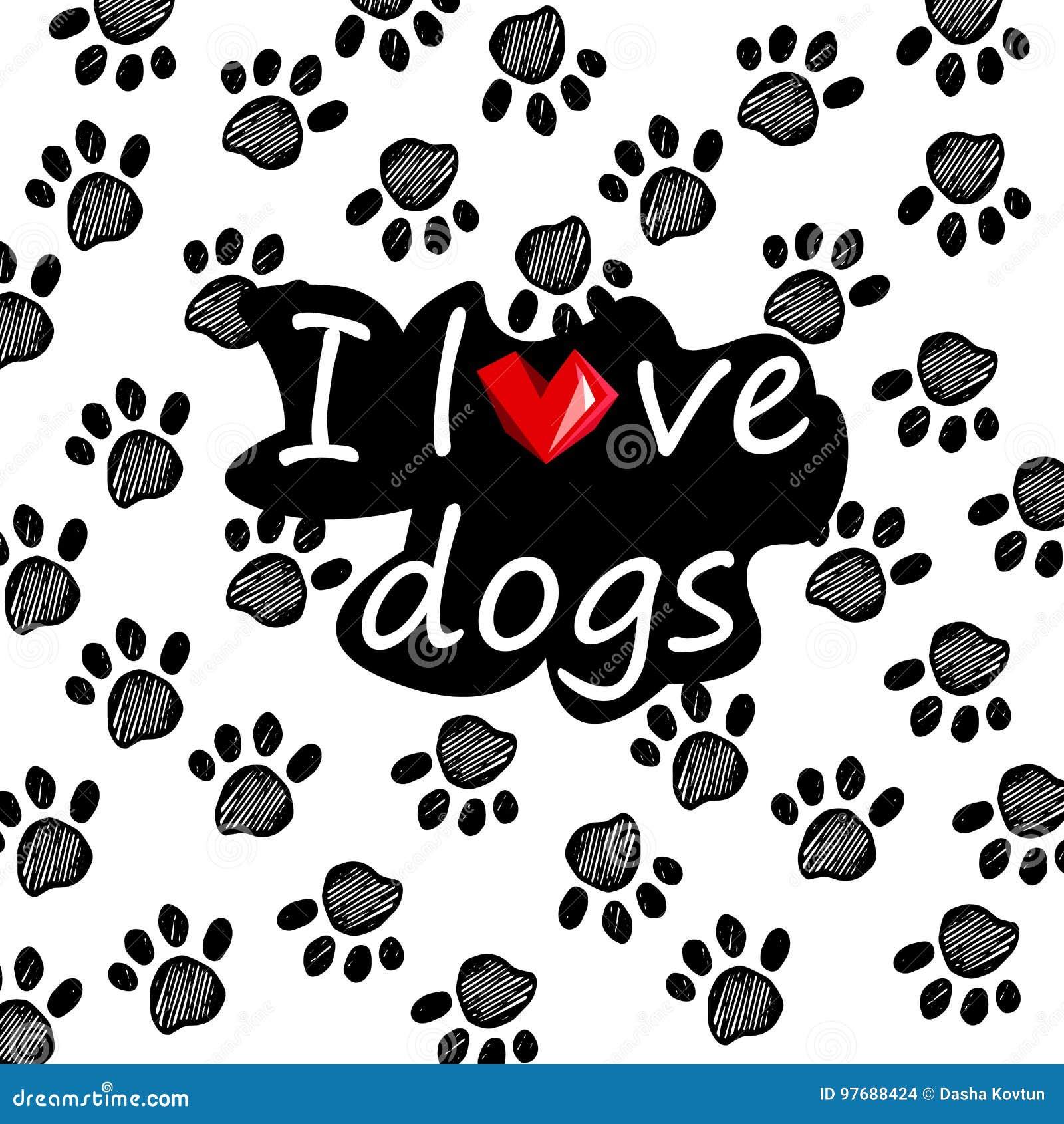 Love me, love my dog. Hand drawn