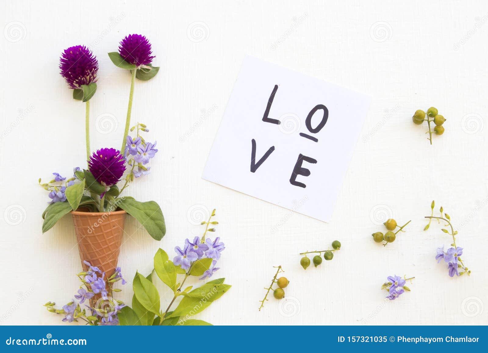 love message card handwriting with purple flower amaranth