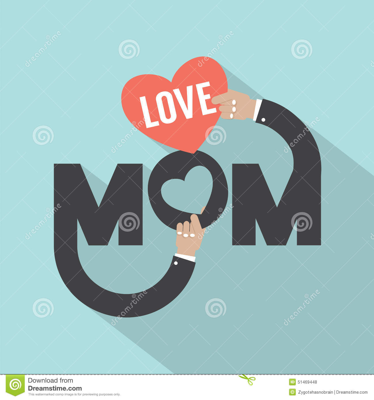 Love Mom Typography Design Stock Vector Image 51469448