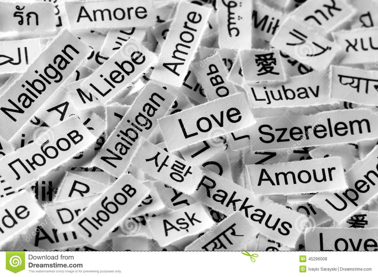 the word love written in different languages