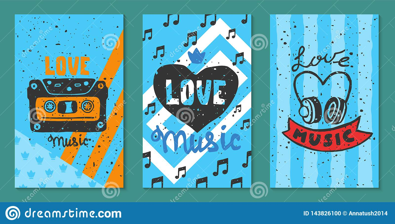 Love music festival cards vector illustration. Let your heart sing. Music make everything better. Electric guitars with