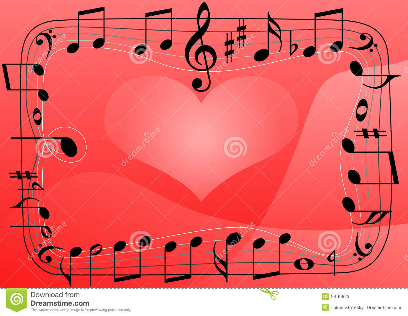 Love Music Heart Musical Notes Symbols Background Stock Vector
