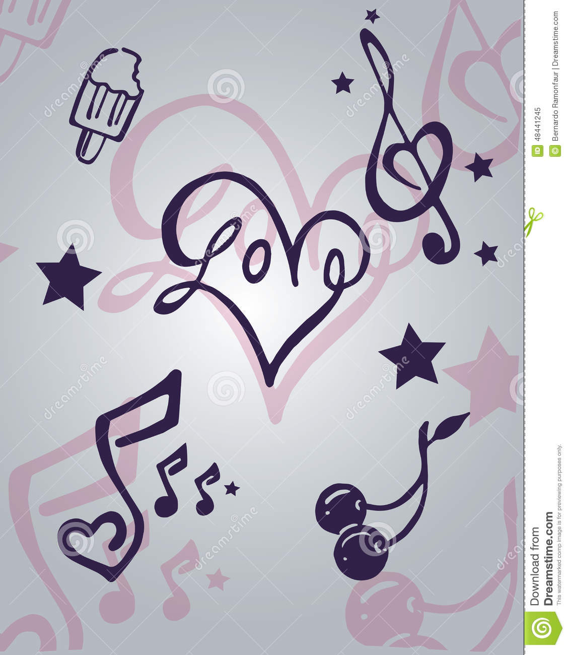 Love and music items stock vector illustration of hand 48441245 love and music items buycottarizona Images