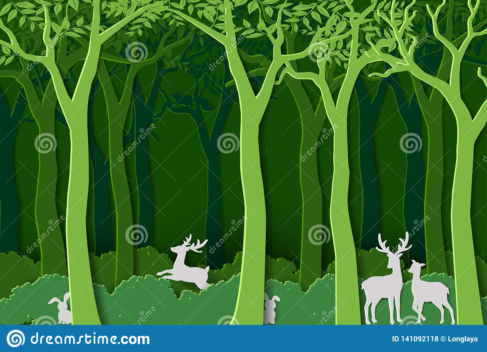 Love nature with animal wildlife in green woods,paper art design for World forest day,banner or poster