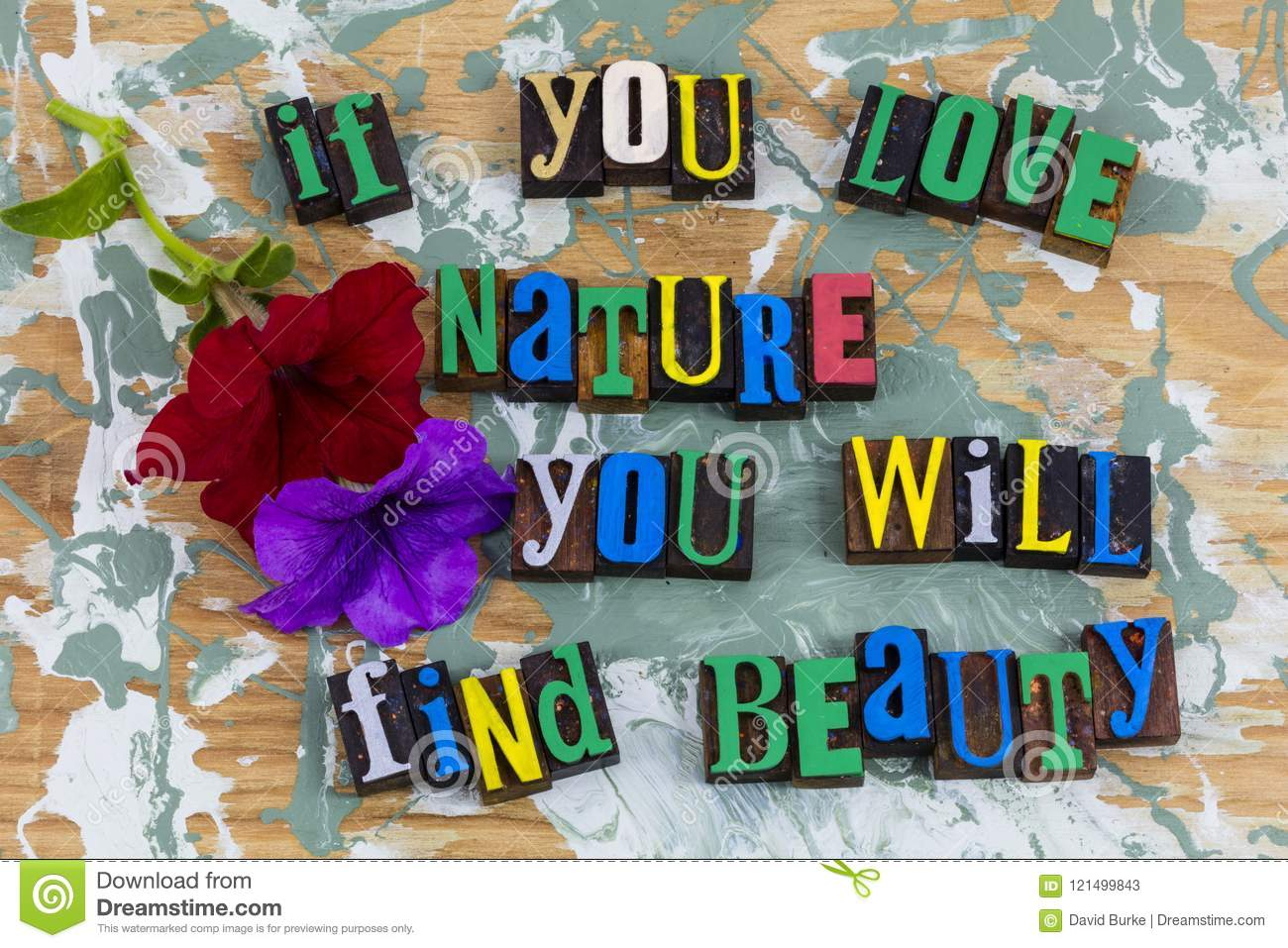 Love Nature Find Beauty Letterpress Stock Image Image Of Paint Text 121499843