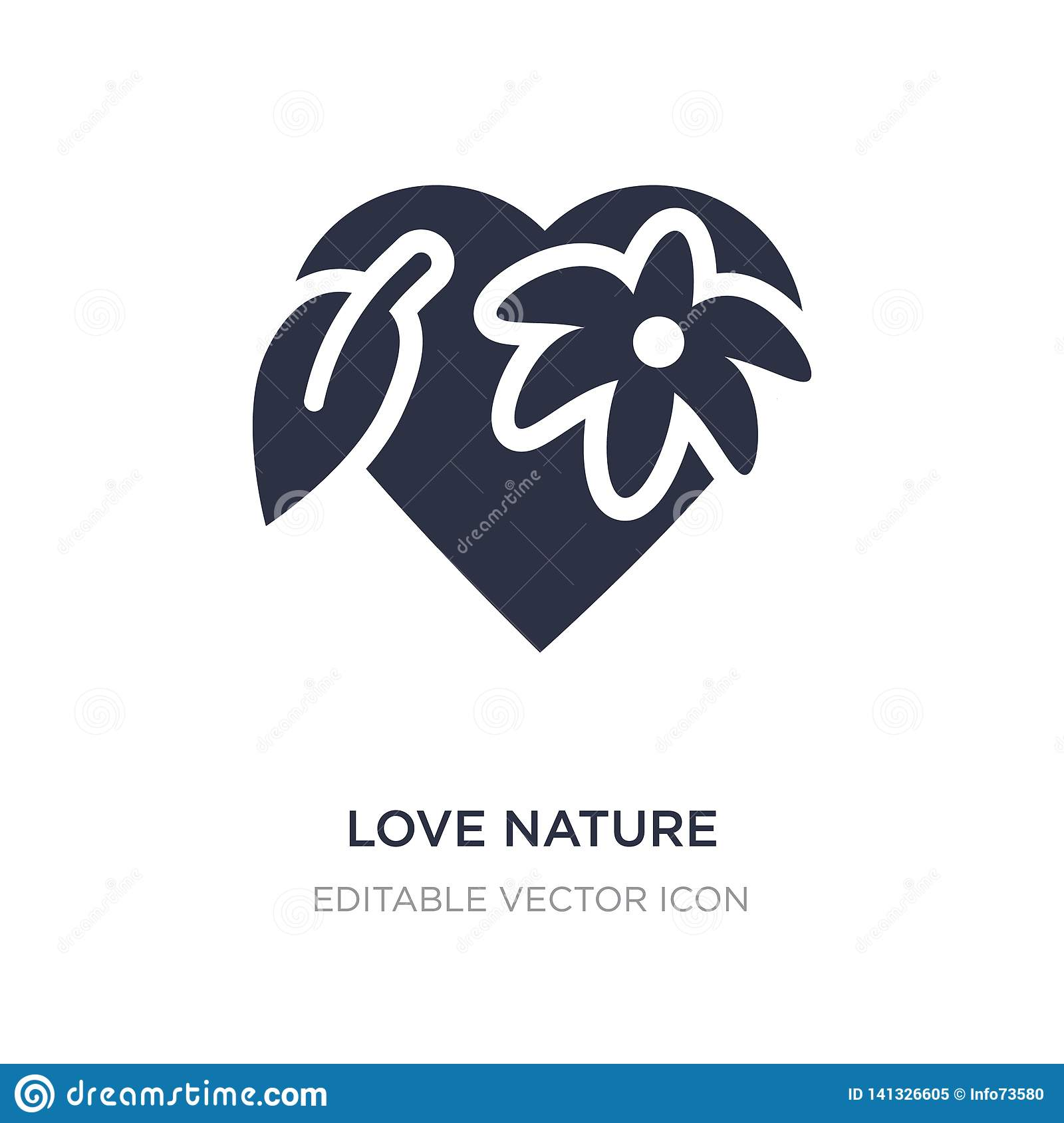 love nature icon on white background. Simple element illustration from Nature concept