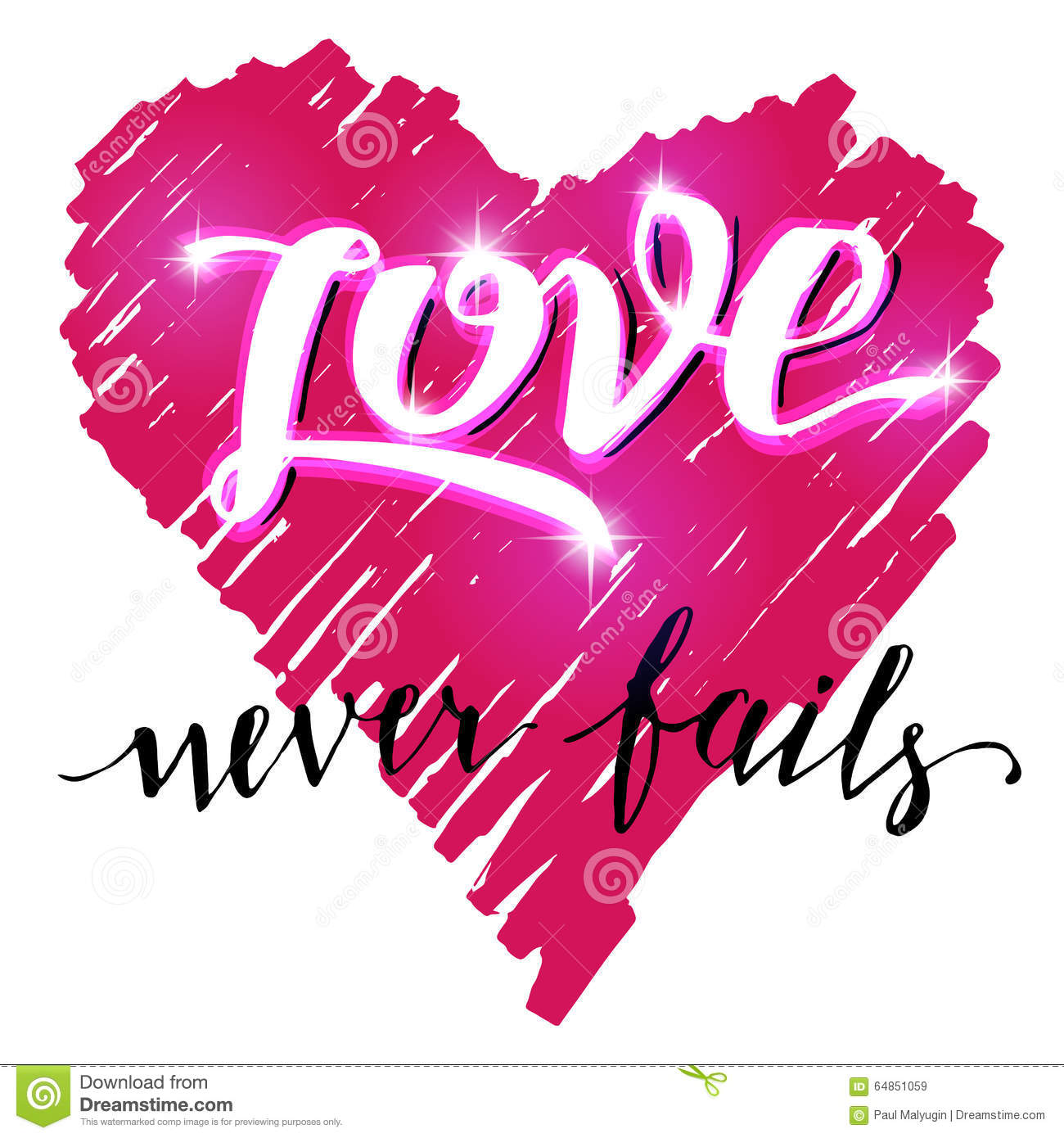 Love never fails brush calligraphy stock vector image