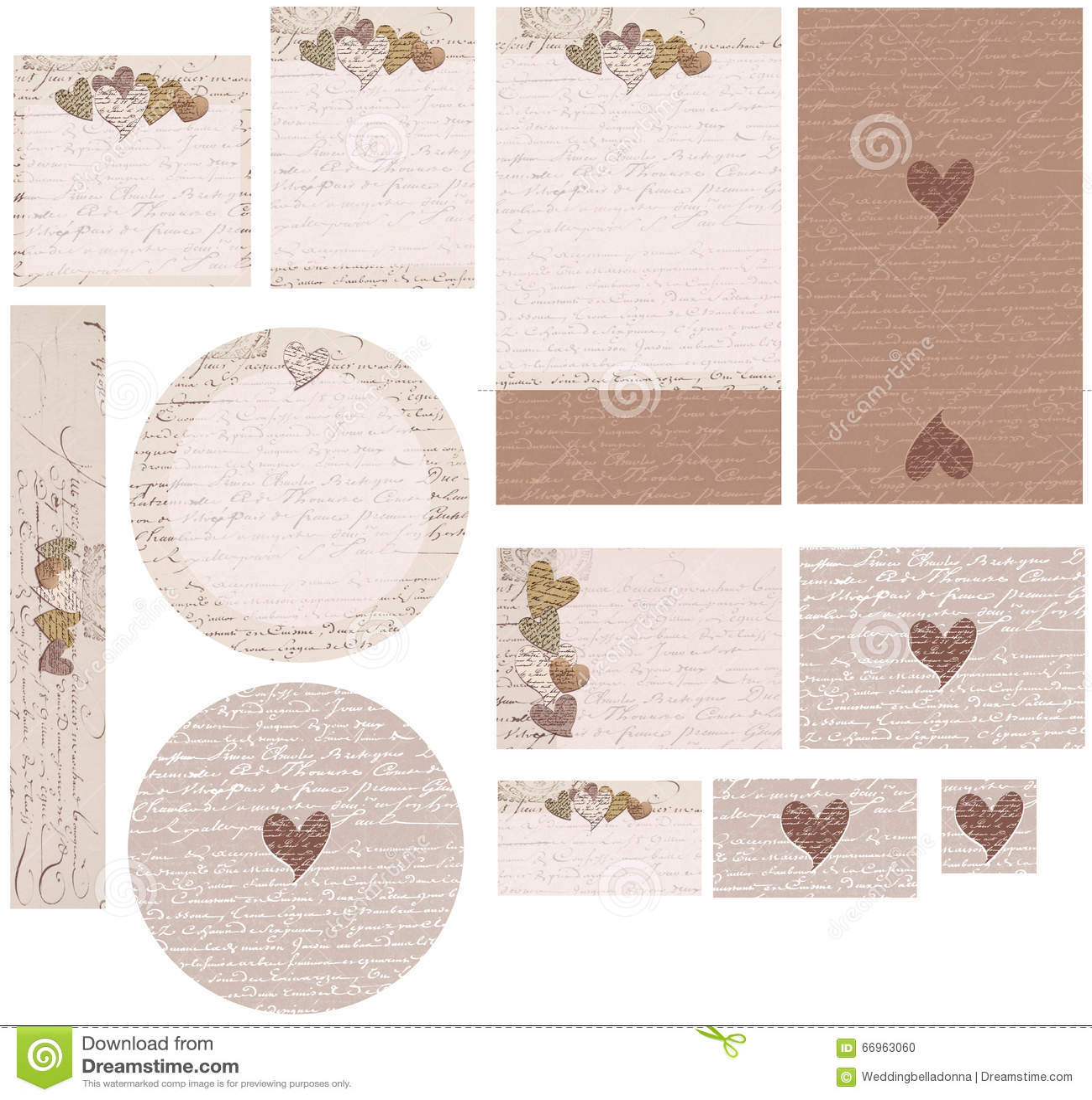 Love Note Hearts Wedding Invitation Set Stock Photo - Image of