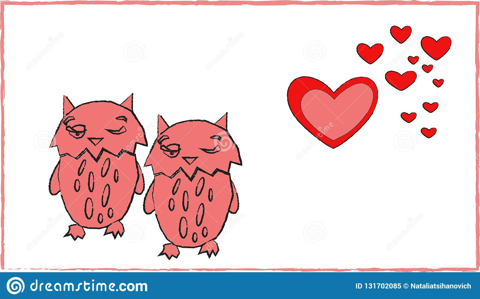Love of owls heart couple romance animal art