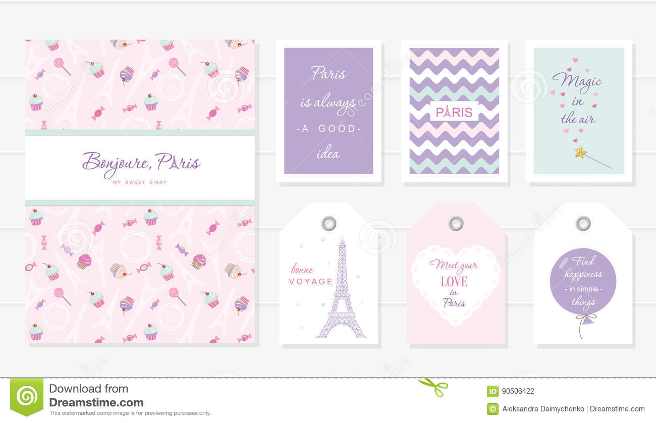 Notebook Cards And Tags Cute Templates Set Honey Moon Valentine S French Bakery Design Included Seamless Pattern With Eiffel Tower Sweets