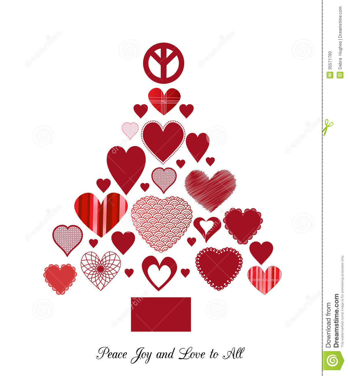 Love and peace christmas tree stock vector illustration