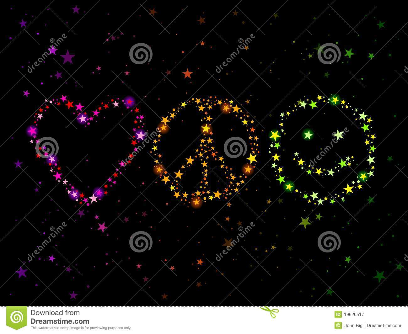 Love peace and happiness stock vector. Illustration of heart ...